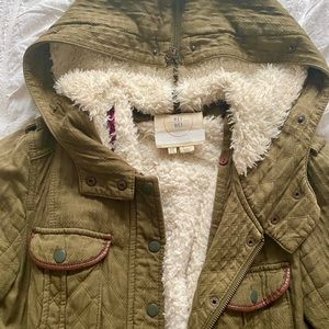 Shearling lined olive green parka jacket, Anthro